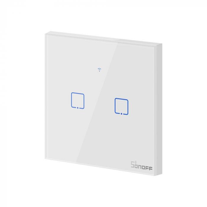 Intrerupator dublu cu touch,alb - Wifi + RF 433 - Sonoff T1EU2C-TX-RF [1]