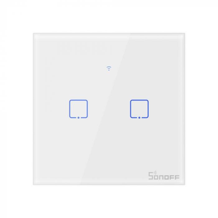 Intrerupator dublu cu touch,alb - Wifi + RF 433 - Sonoff T1EU2C-TX-RF [0]