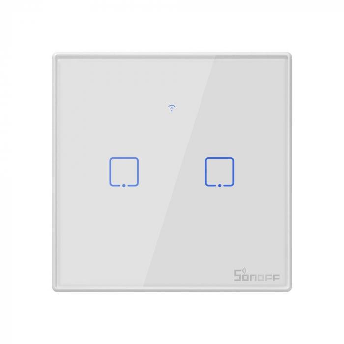 Intrerupator dublu cu touch,alb - WiFi + RF 433 - Sonoff T2EU2C-TX-RF [0]