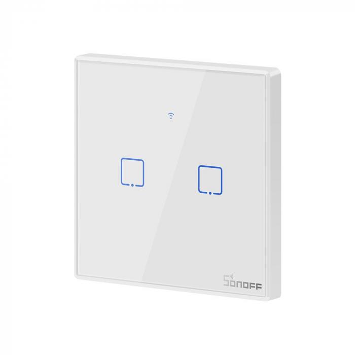 Intrerupator dublu cu touch,alb - WiFi + RF 433 - Sonoff T2EU2C-TX-RF [1]