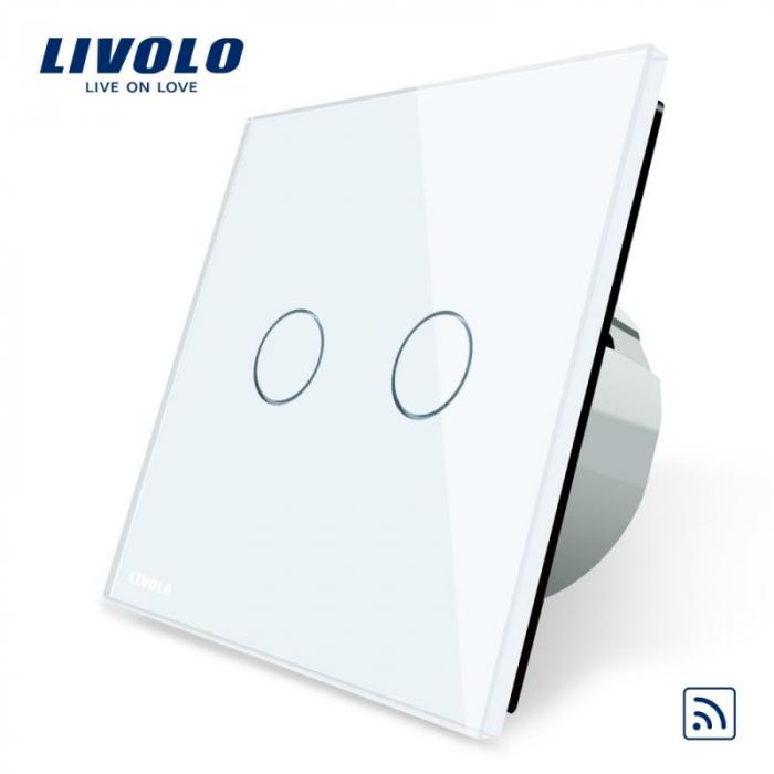 Intrerupator dublu cu touch, alb - wireless - Livolo VL-C702R-11 [0]