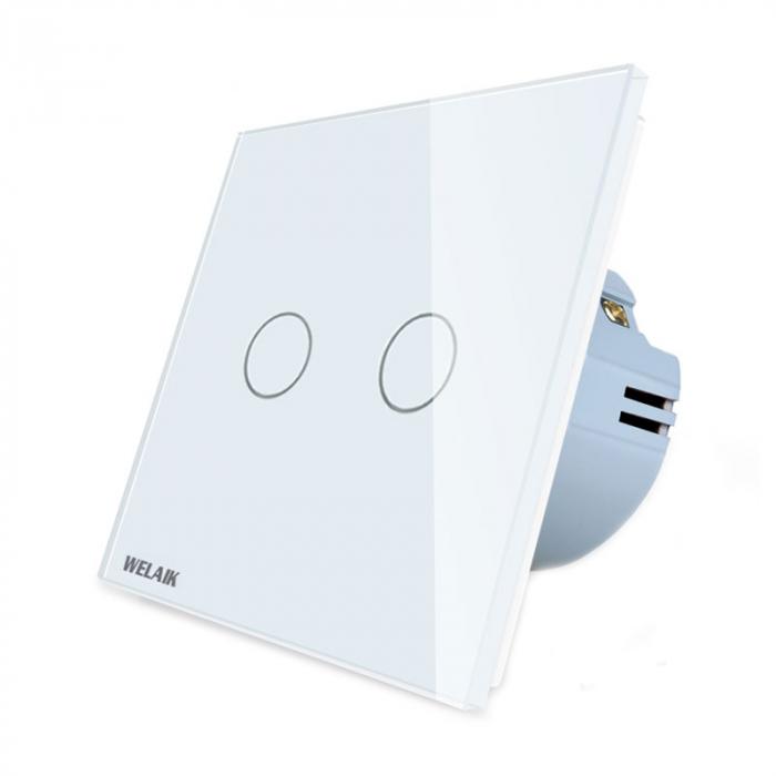 Intrerupator dublu cu touch,alb - Wireless, Telecomanda inclusa - Welaik A1923CWR01 [2]