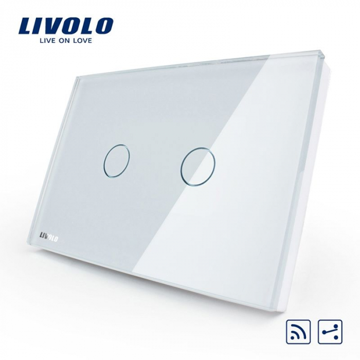 Intrerupator dublu cu touch, modular italian, alb -  cap scara / cruce,  wireless - Livolo VL-C302SR-81 [0]