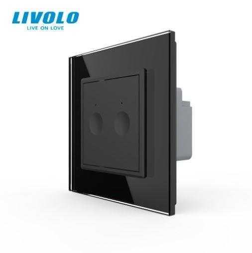Intrerupator dublu cu touch, negru, rama sticla - cap scara / cruce - Livolo 722000412SR [0]