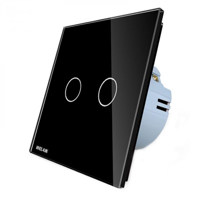 Intrerupator dublu cu touch,negru - Wireless, Telecomanda inclusa - Welaik A1923CBR01 [2]