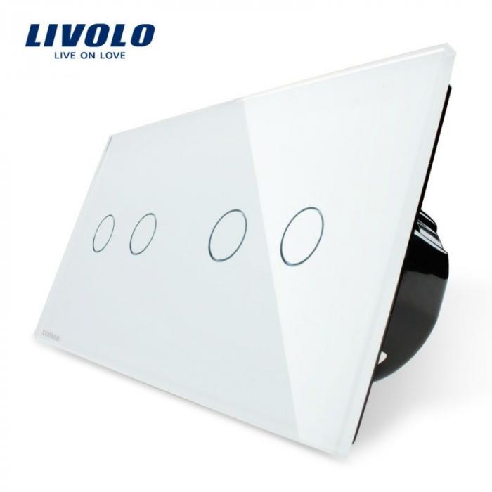 Intrerupator dublu + dublu cu touch, alb - Livolo VL-C702/VL-C702-11 [0]