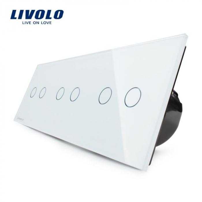 Intrerupator dublu + dublu + dublu cu touch, alb - Livolo VL-C706-11 [0]