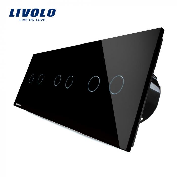 Intrerupator dublu + dublu + dublu cu touch, negru - Livolo VL-C706-12 [0]