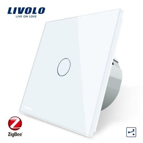 Intrerupator simplu cu touch, alb,  cap scara / cruce - Wi-Fi ZigBee - Livolo VL-C701SZ-11 [0]