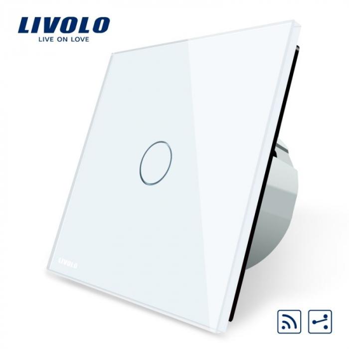 Intrerupator simplu cu touch, alb - cap scara / cruce wireless - Livolo VL-C701SR-11 [0]