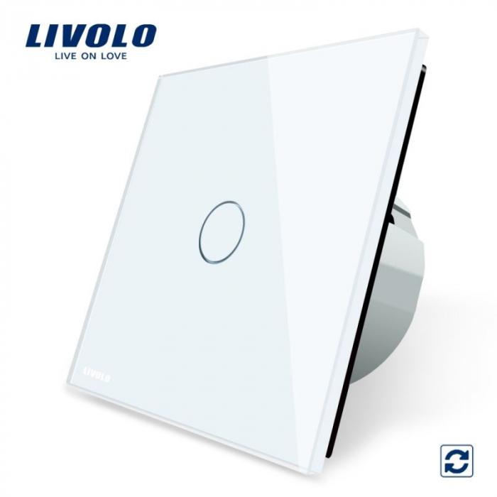 Intrerupator simplu cu touch, alb - cu revenire - Livolo VL-C701H-11 [0]