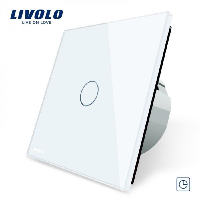 Intrerupator simplu cu touch, alb - cu temporizator - Livolo VL-C701T-11 [0]