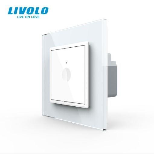 Intrerupator simplu cu touch, alb, rama sticla - Livolo 722000111SR [0]