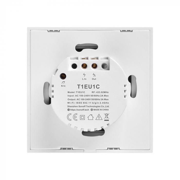 Intrerupator simplu cu touch,alb - WiFi + RF 433 - Sonoff T1EU1C-TX-RF [2]
