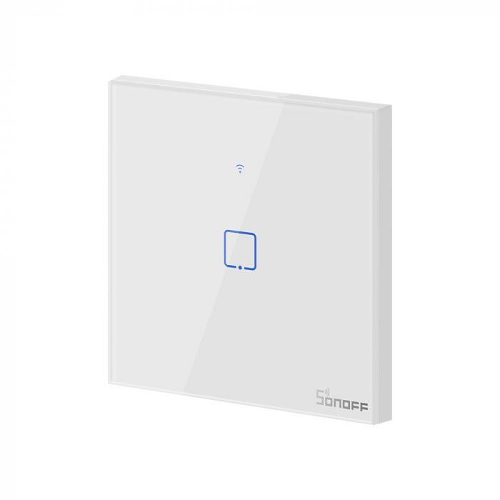 Intrerupator simplu cu touch,alb - WiFi + RF 433 - Sonoff T1EU1C-TX-RF [1]