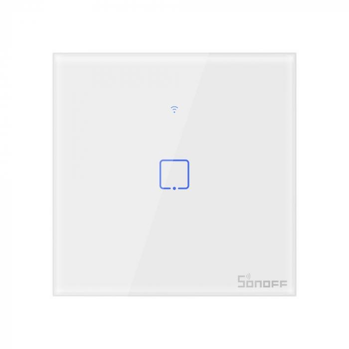 Intrerupator simplu cu touch,alb - WiFi + RF 433 - Sonoff T1EU1C-TX-RF [0]