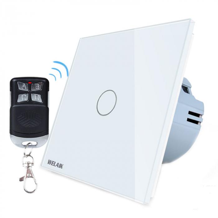 Intrerupator simplu cu touch,alb - Wireless, Telecomanda inclusa - Welaik A1921CG [0]