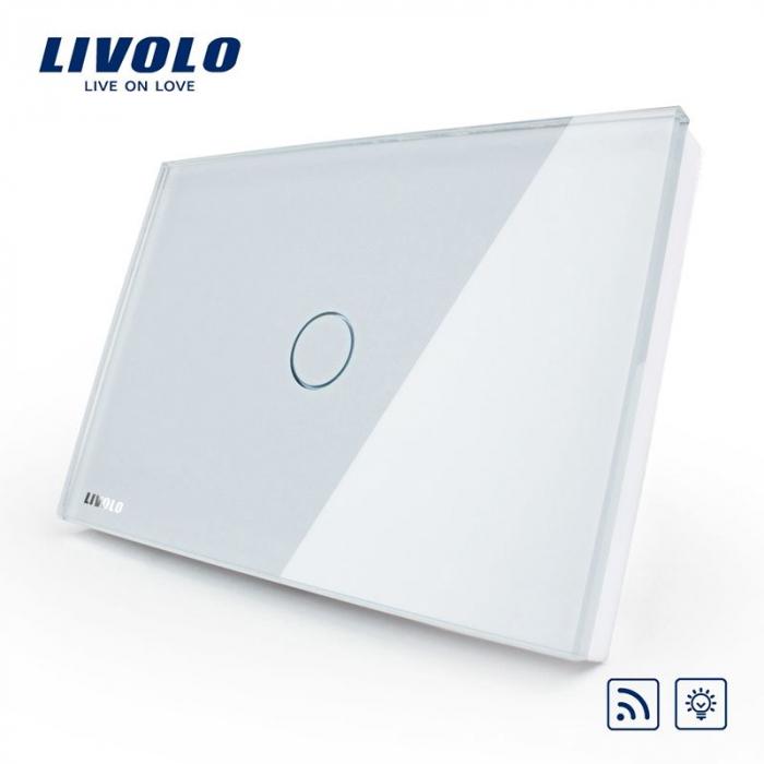 Intrerupator simplu cu touch, modular italian, alb - dimabil, wireless - Livolo VL-C301DR-81 [0]