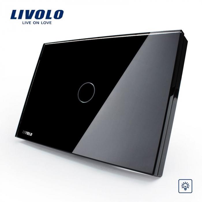 Intrerupator simplu cu touch, modular italian, negru - dimabil - Livolo VL-C301D-82 [0]