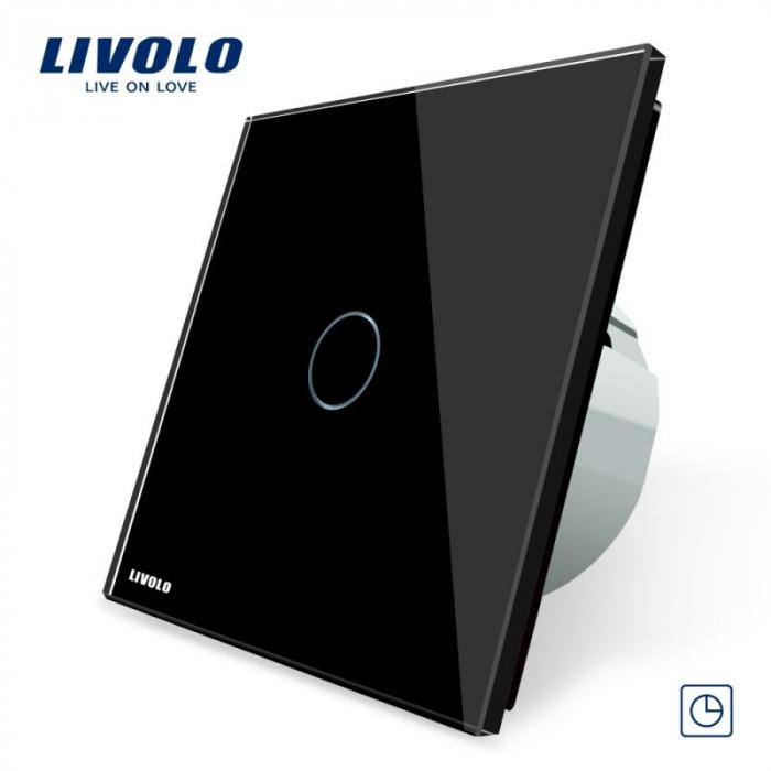 Intrerupator simplu cu touch, negru - cu temporizator - Livolo VL-C701T-12 [0]