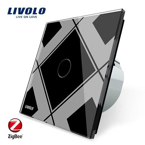 Intrerupator simplu cu touch, negru + gri, Wi-Fi ZigBee - Livolo VL-C701Z-12.15 [0]