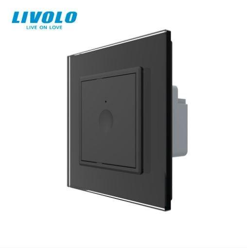 Intrerupator simplu cu touch, negru, rama sticla - cap scara / cruce - Livolo 722000312SR [0]