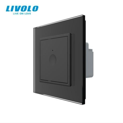 Intrerupator simplu cu touch, negru, rama sticla - Livolo 722000112SR [0]