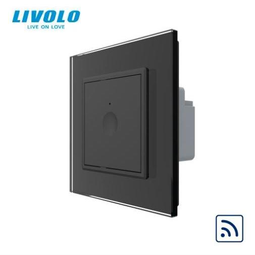 Intrerupator dublu cu touch, negru, rama sticla - wireless RF - Livolo 722100212SR [0]