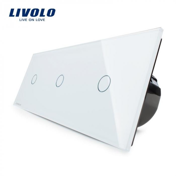 Intrerupator simplu + simplu + simplu cu touch, alb - Livolo VL-C703-11 [0]