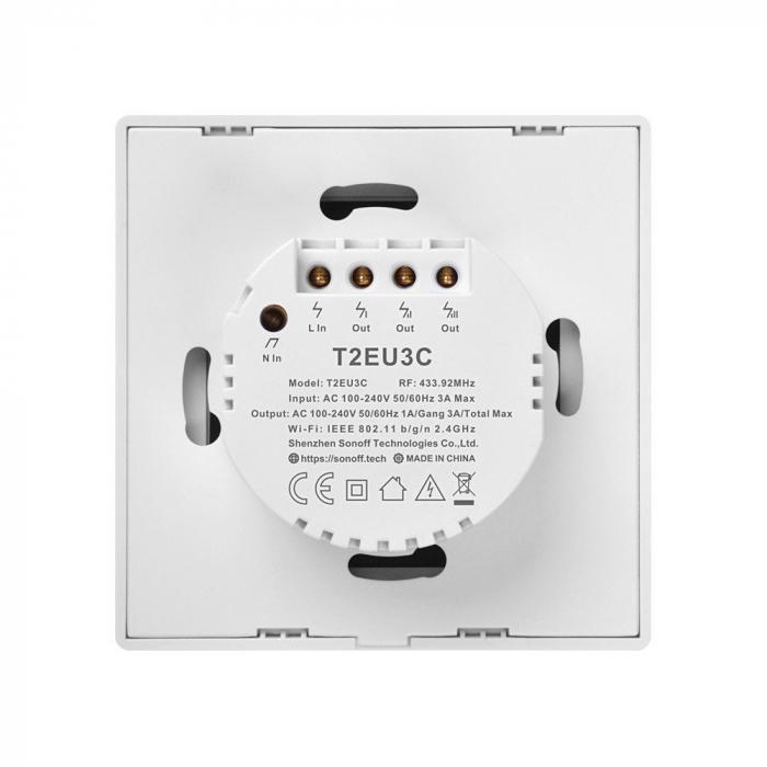 Intrerupator triplu cu touch,alb - WiFi + RF 433 - Sonoff T1EU3C-TX-RF [8]