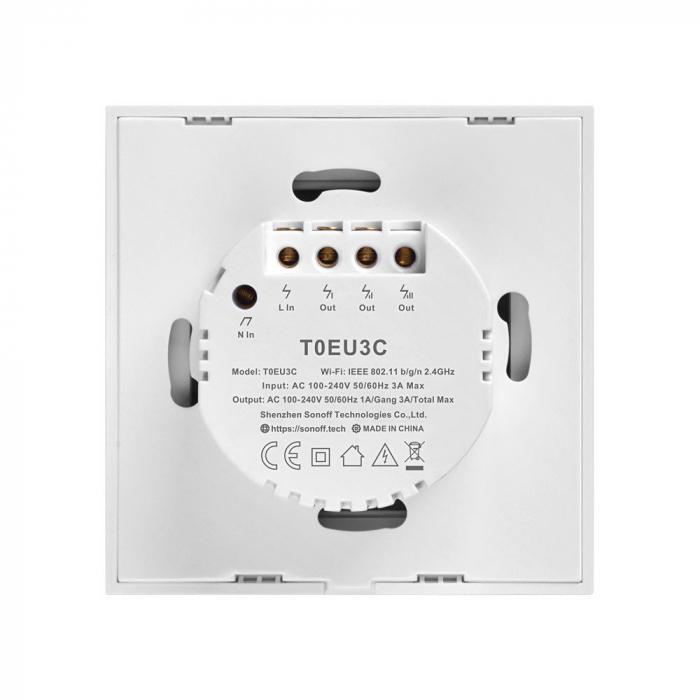 Intrerupator triplu cu touch,alb - WiFi + RF 433 - Sonoff T1EU3C-TX-RF [1]