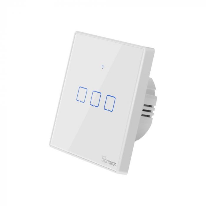 Intrerupator triplu cu touch,alb - WiFi + RF 433 - Sonoff T1EU3C-TX-RF [6]