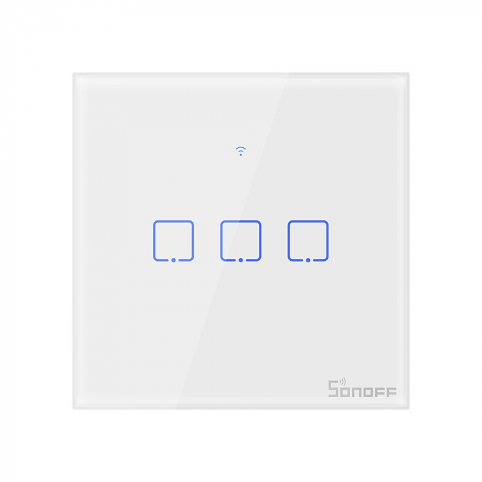 Intrerupator triplu cu touch,alb - WiFi + RF 433 - Sonoff T1EU3C-TX-RF [0]