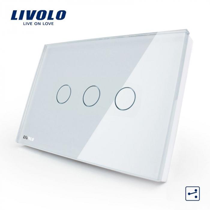 Intrerupator triplu cu touch, modular italian, alb -  cap scara / cruce - Livolo VL-C303S-81 [0]