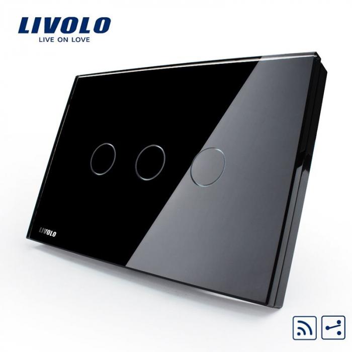 Intrerupator triplu cu touch, modular italian, negru -  cap scara / cruce,  wireless - Livolo VL-C303SR-82 [0]