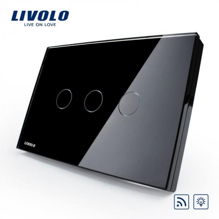 Intrerupator triplu cu touch, modular italian, negru - dimabil wireless - Livolo VL-C303DR-82 [0]
