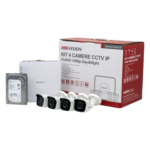 KIT 4 camere Bullet IP 2MP + NVR 4 canale, HDD 1TB - HIKVISION NK42N0H-1T(SG) [0]