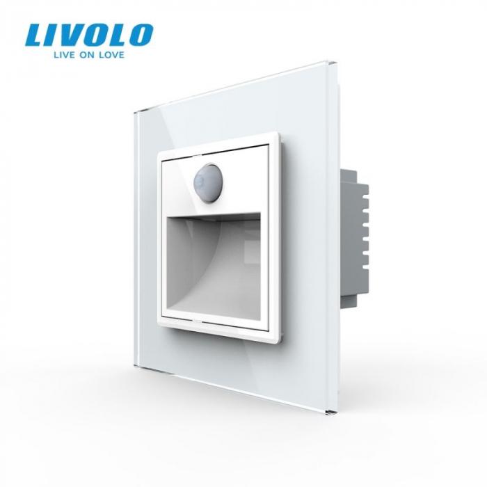 Lampa pentru scara cu senzor miscare PIR, alb, rama de sticla - Livolo 782800511-SR [0]
