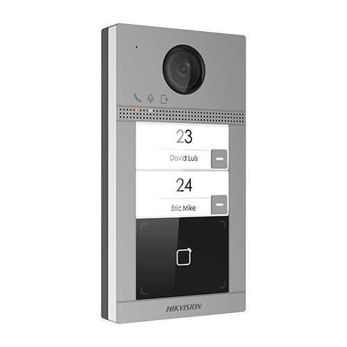 Post videointerfon Hikvision exterior TCP/IP pentru 2 familii, Wi-Fi 2.4GHz, control acces integrat - DS-KV8213-WME1 [0]