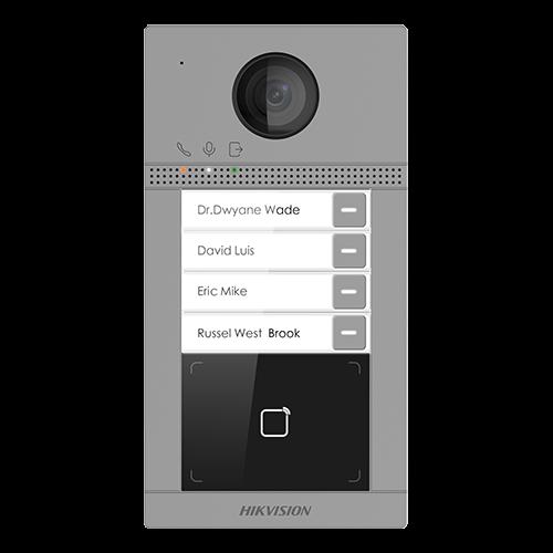 Post videointerfon Hikvision exterior TCP/IP pentru 4 familii, Wi-Fi 2.4GHz, control acces integrat - DS-KV8413-WME1 [1]