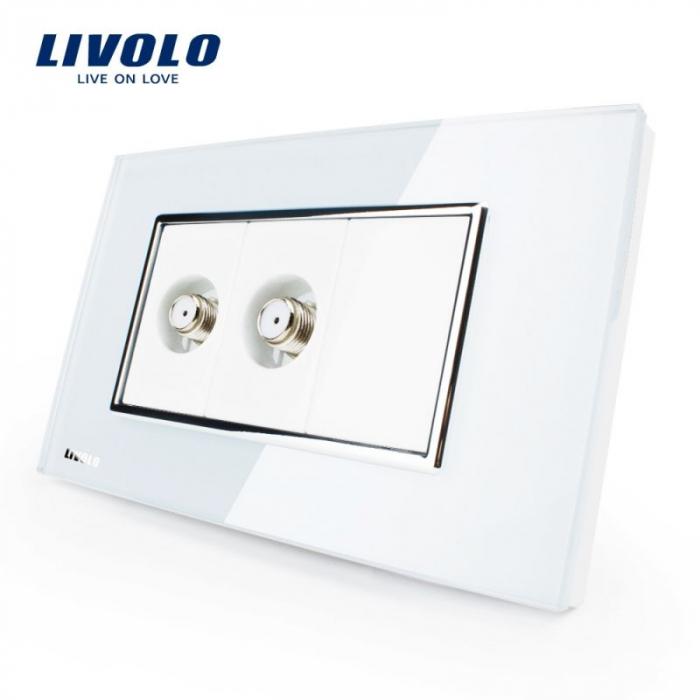 Priza dubla + TV satelit, modular italian, alb - Livolo VL-C392ST-81 [0]