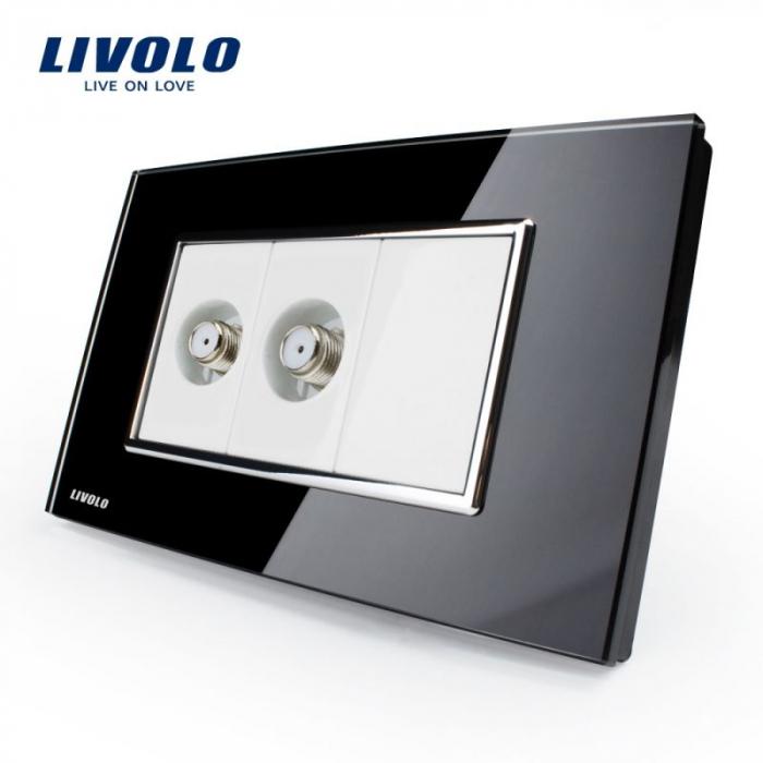 Priza dubla + TV satelit, modular italian, negru - Livolo VL-C392ST-82 [0]