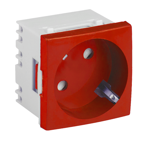Priza modulara schuko cu impamantare, rosu - DLX DLX-245-46 [0]
