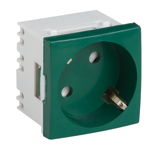 Priza modulara schuko cu impamantare, verde - DLX DLX-245-42 [0]