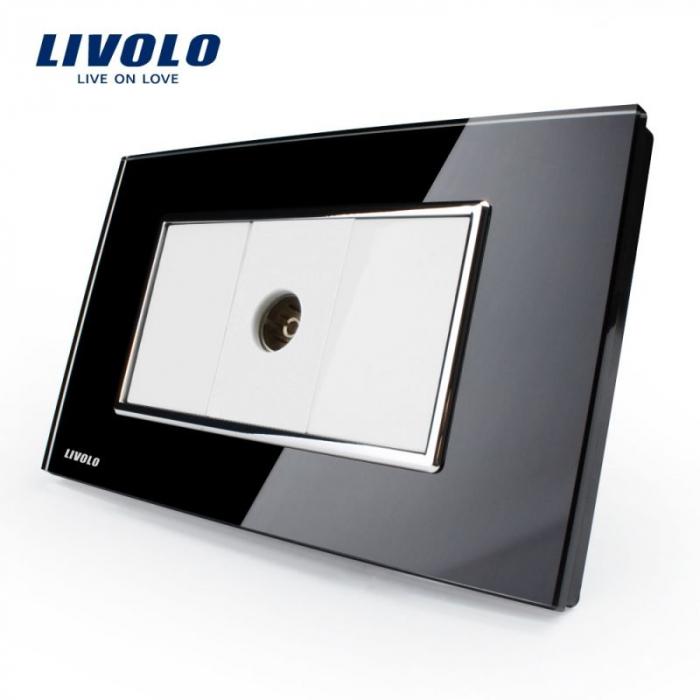 Priza simpla TV modular italian, negru - Livolo VL-C392V-82 [0]