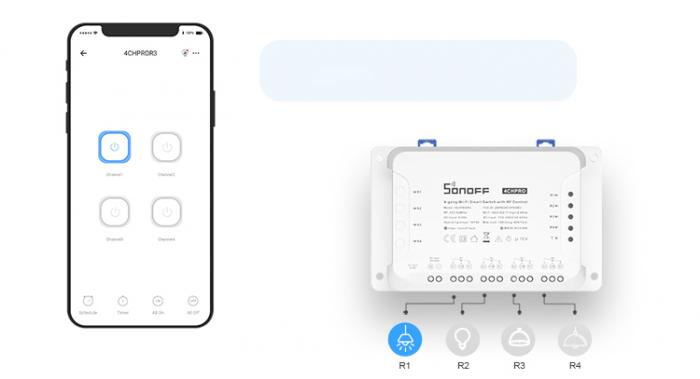 Releu Smart WiFi, Control din aplicatie, 4 canale - Sonoff 4CHR3 [2]