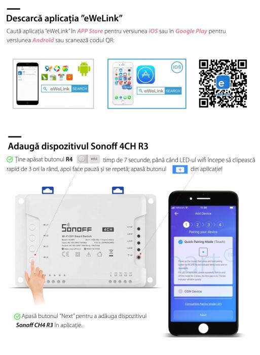Releu Smart WiFi, Control din aplicatie, 4 canale - Sonoff 4CHR3 [4]