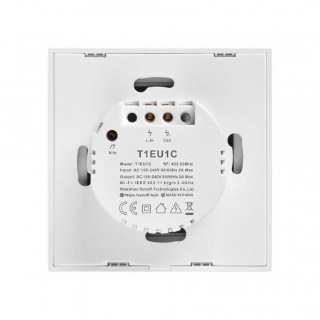 Intrerupator dublu cu touch,alb - Wifi + RF 433 - Sonoff T1EU2C-TX-RF [2]