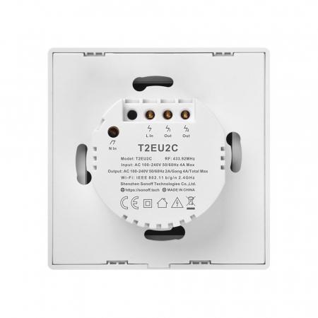 Intrerupator dublu cu touch,alb - WiFi + RF 433 - Sonoff T2EU2C-TX-RF [3]