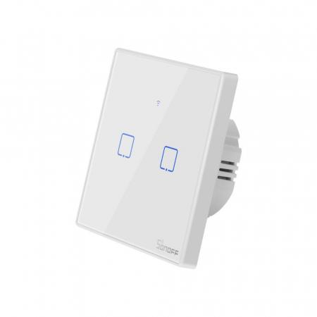 Intrerupator dublu cu touch,alb - WiFi + RF 433 - Sonoff T2EU2C-TX-RF [2]
